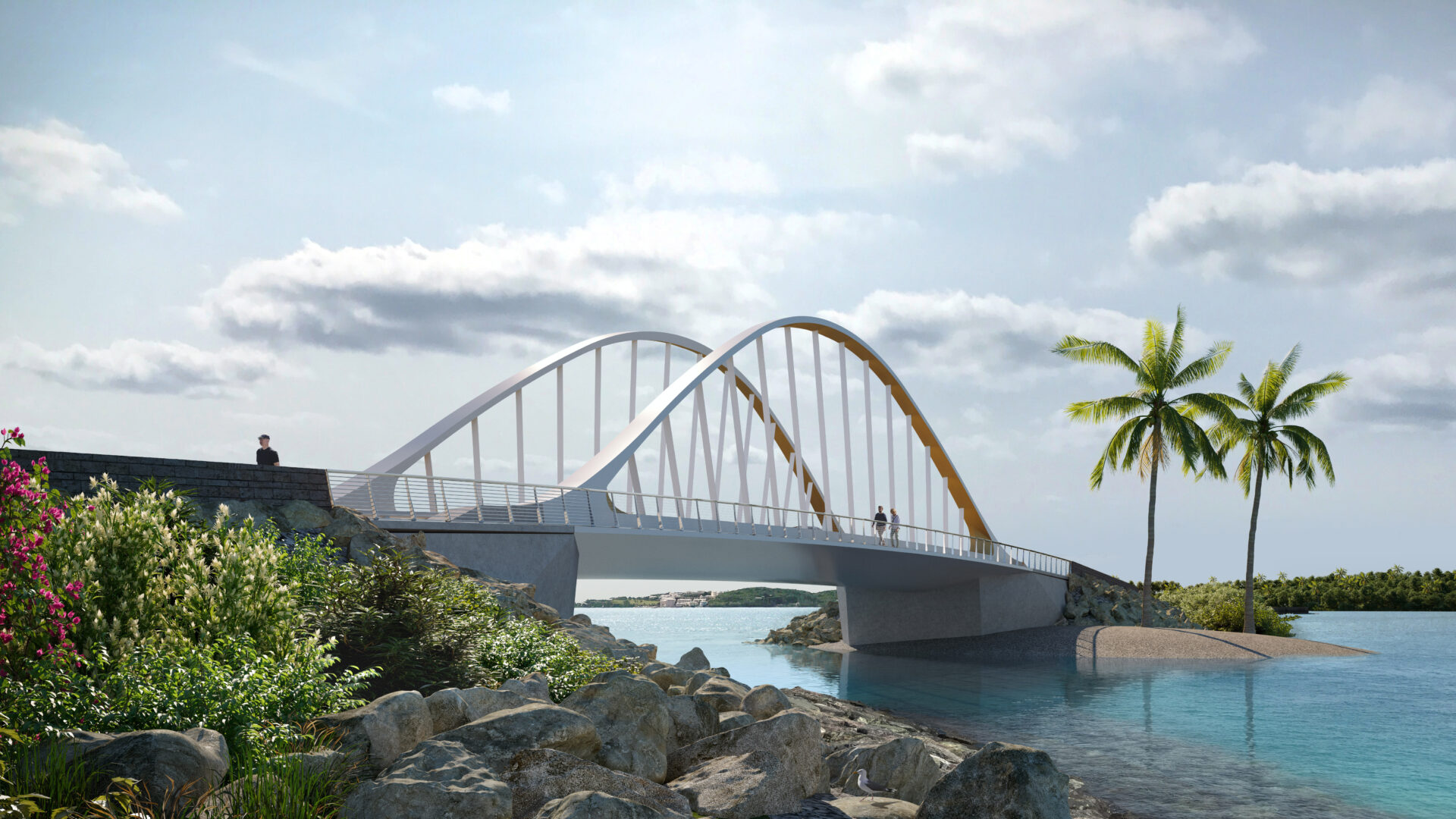 Modern suspension bridge with palm trees and sky