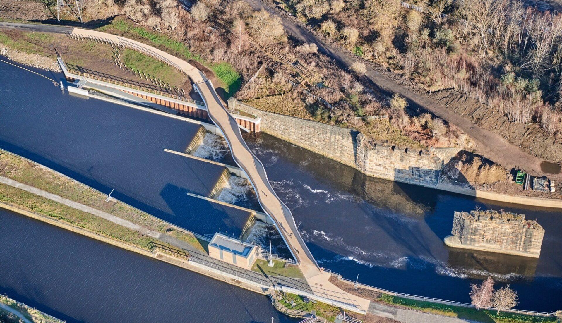 Aerial view of Knostrop bridge