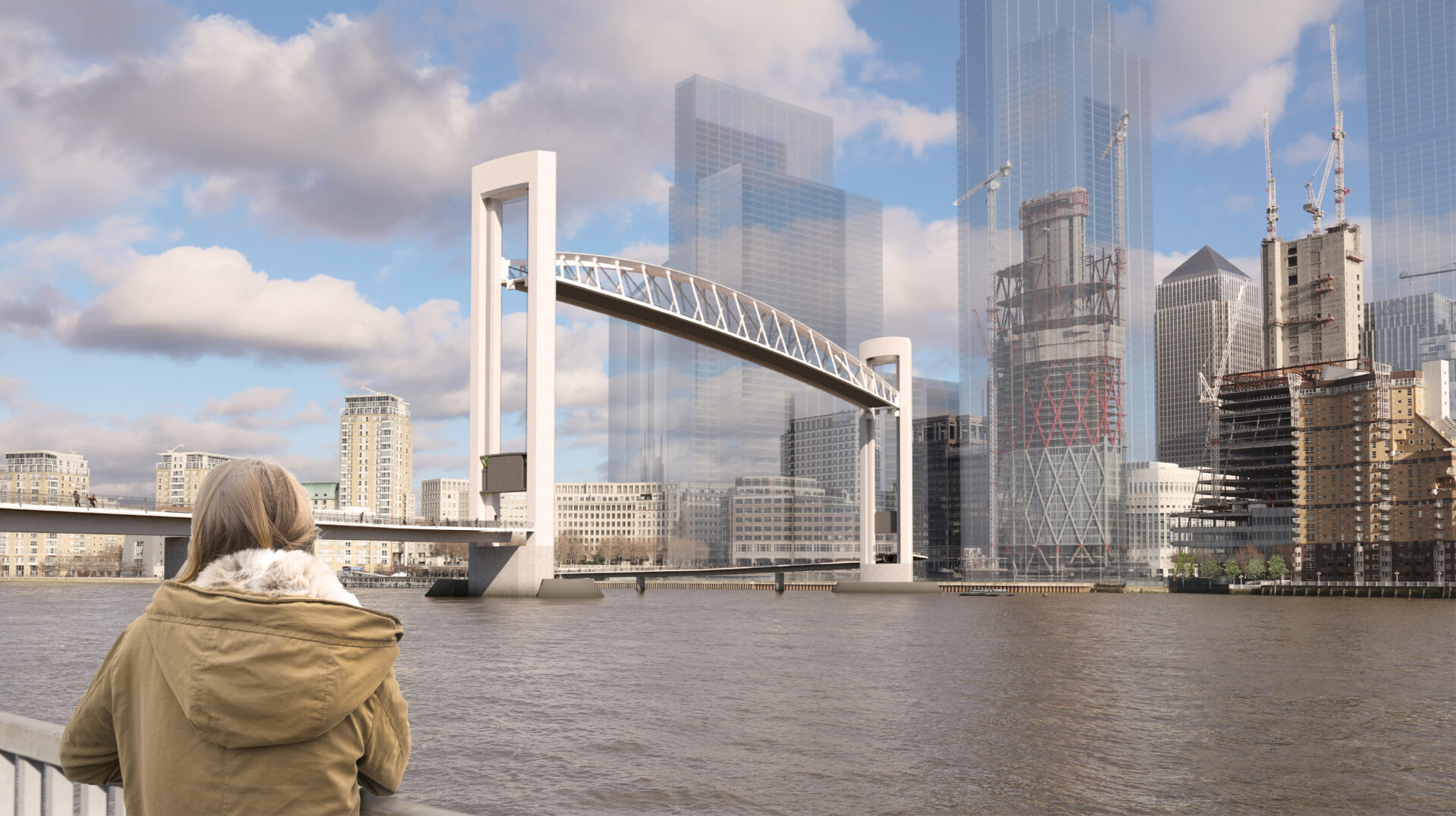 Large lifting Bridge in Canary Wharf over River Thames looking towards city
