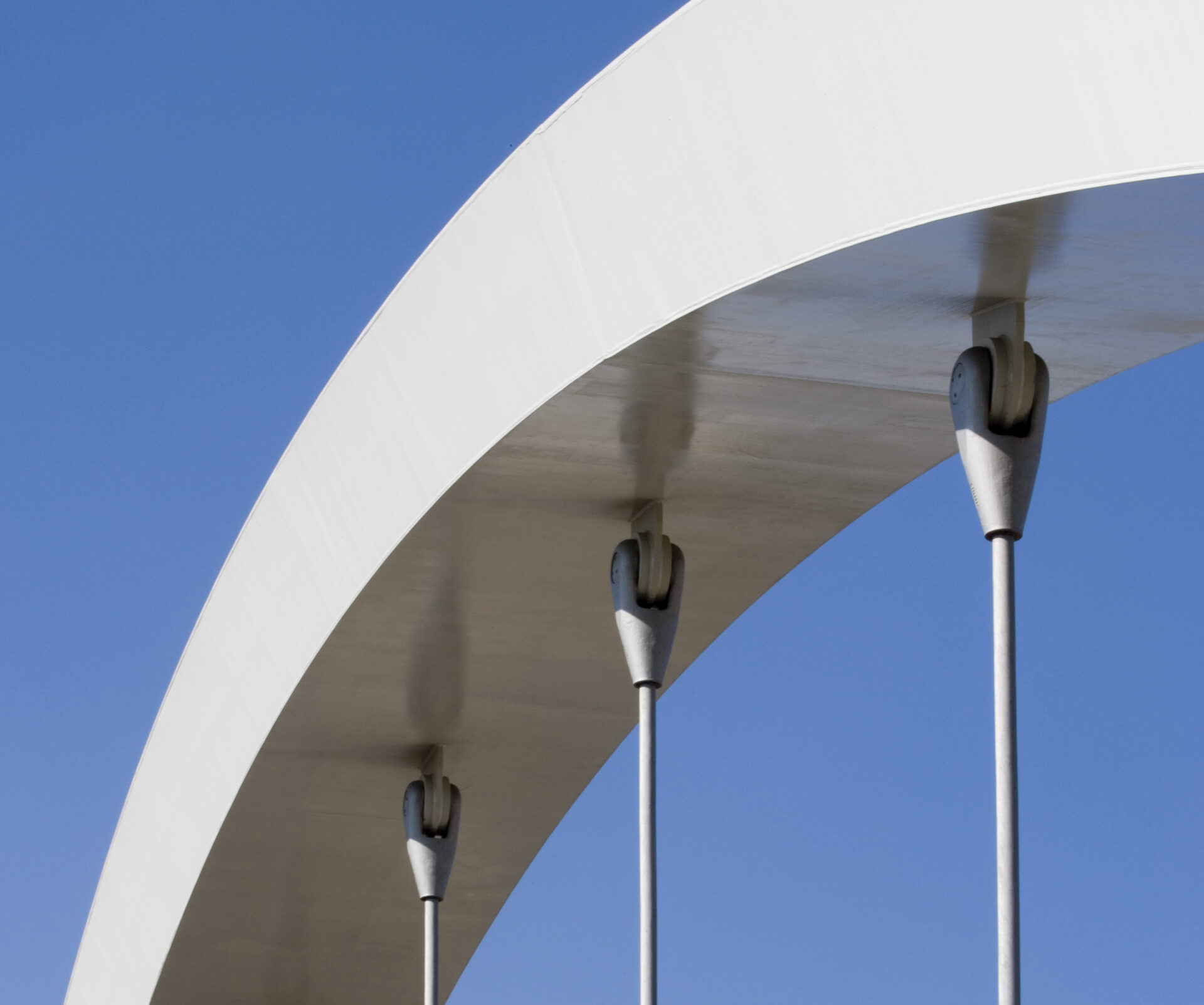 Stratford Olympic Park bridge 20, close up of top of the cable stayed arch