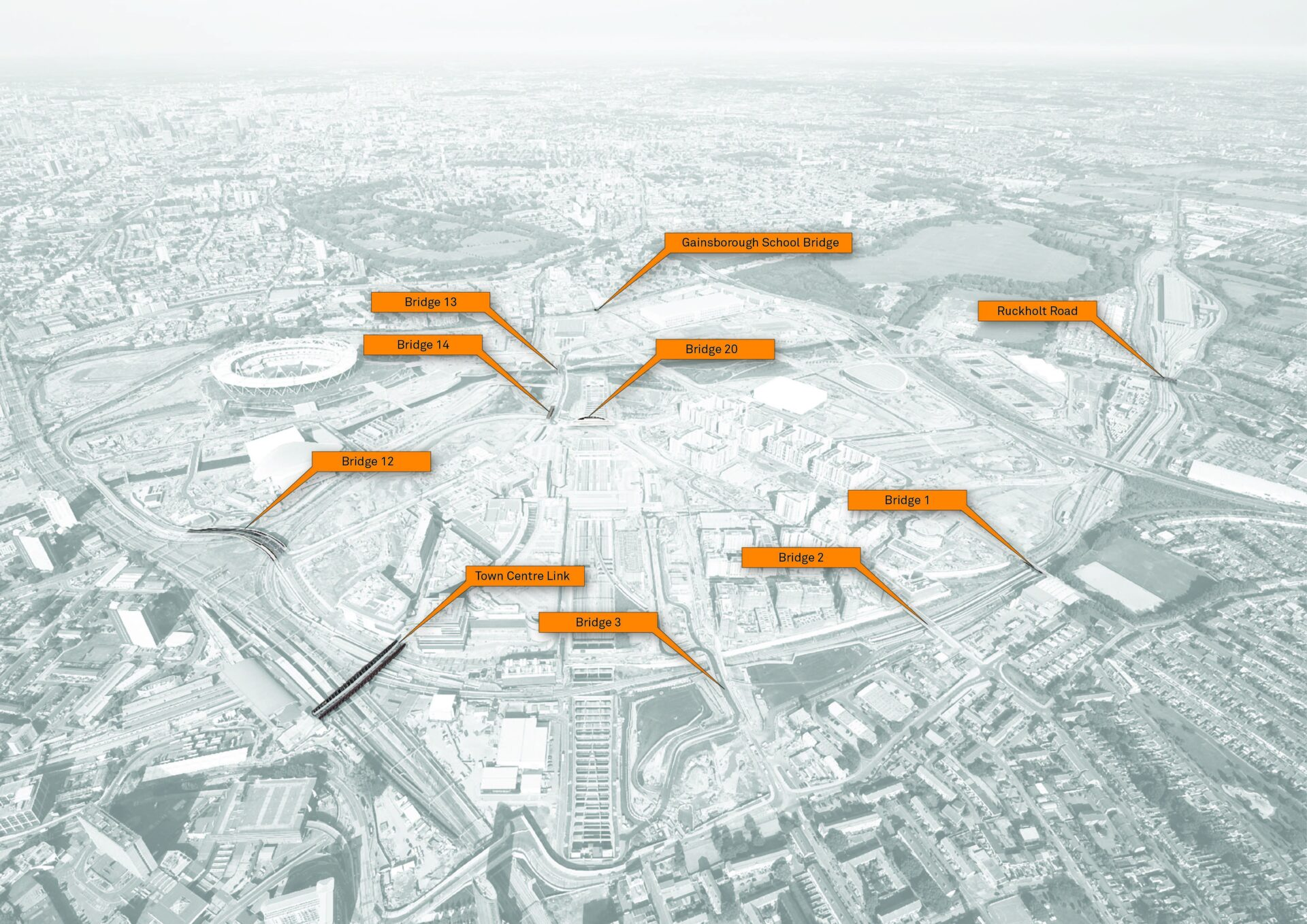 Aerial view of Olympic Park with orange Knight Architects bridge markers