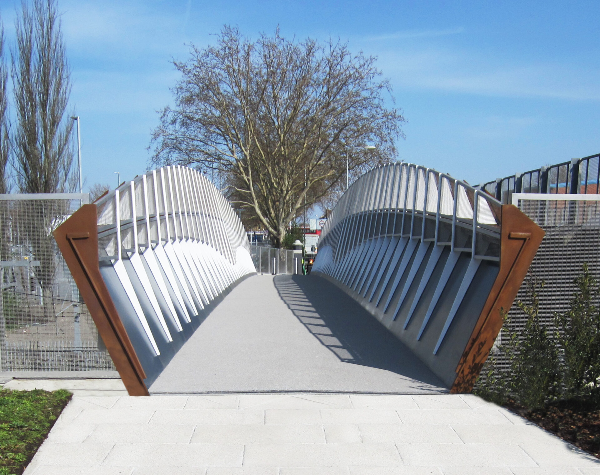 Stratford Olympic Park foot and cycle bridge in Athletes village