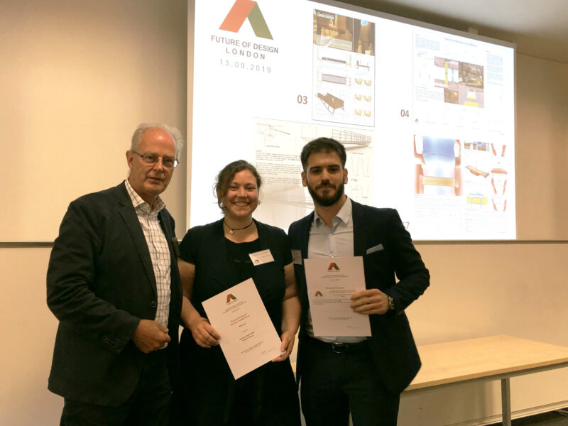 Anthea Schneider and Daniel Perez receiving the win for IABSE Young Designer's Design award