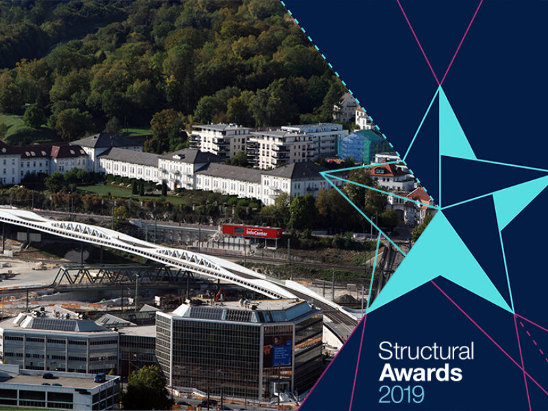 Aerial view of Ulm Kienlesbergbrücke with blue Structural Awards 2019 logo to the right