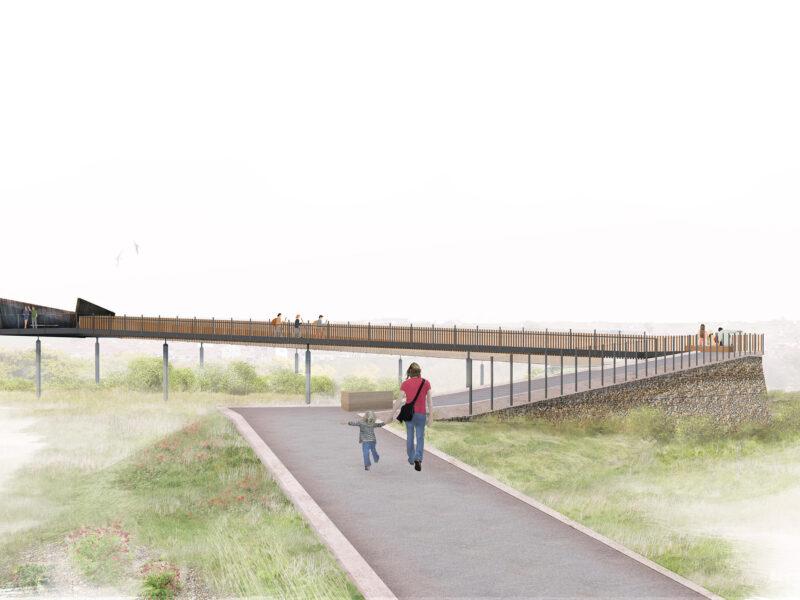 Tide Mills bridge visualisation with woman and child walking toward the bridge