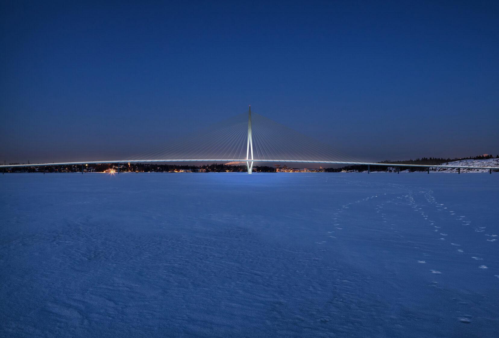Night snow image of Kruunusilat Bridge