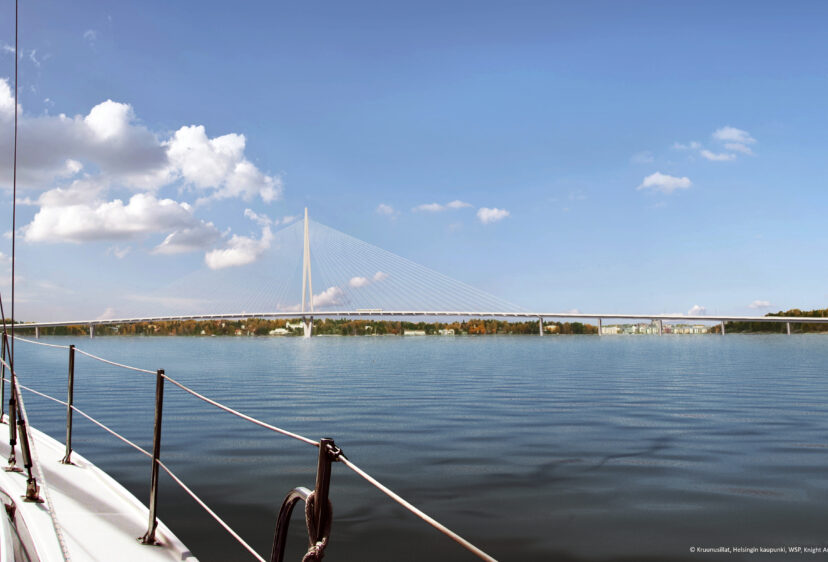 View from boat with Kruunusilat bridge in distance on a sunny day
