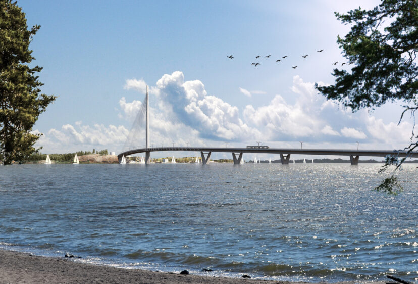 Shore view looking to Kruunusilat bridge with birds flying over and boats sailing under