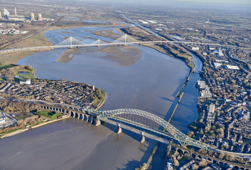 Aerial view with the Gateway bridge to the north and Silver Jubilee bridge to the south
