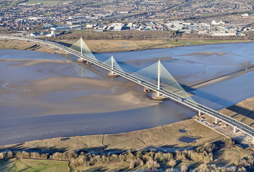 Aerial view of the 2.4km road bridge crossing the river between Runcorn and Widnes