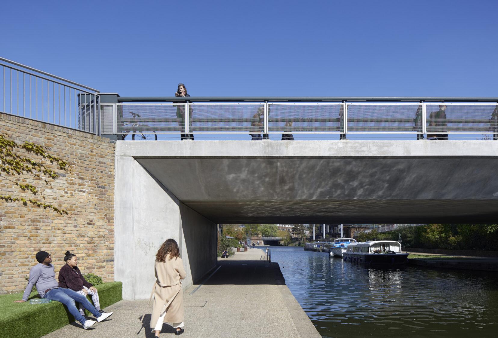 Person walking under Regents Canal Bridge in Kings Cross