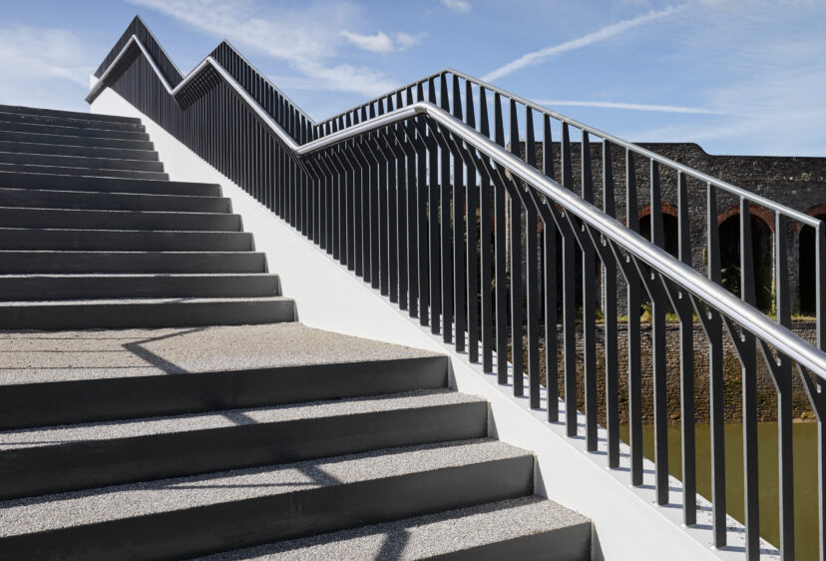 Steps, parapet and handrail of St Philip's footbridge in Bristol
