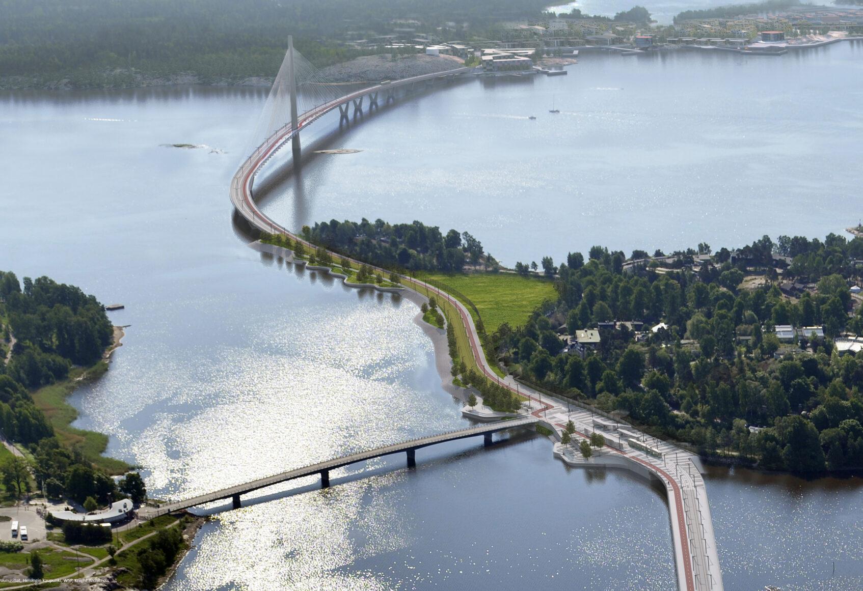 Aerial view of Kruunusilat bridge
