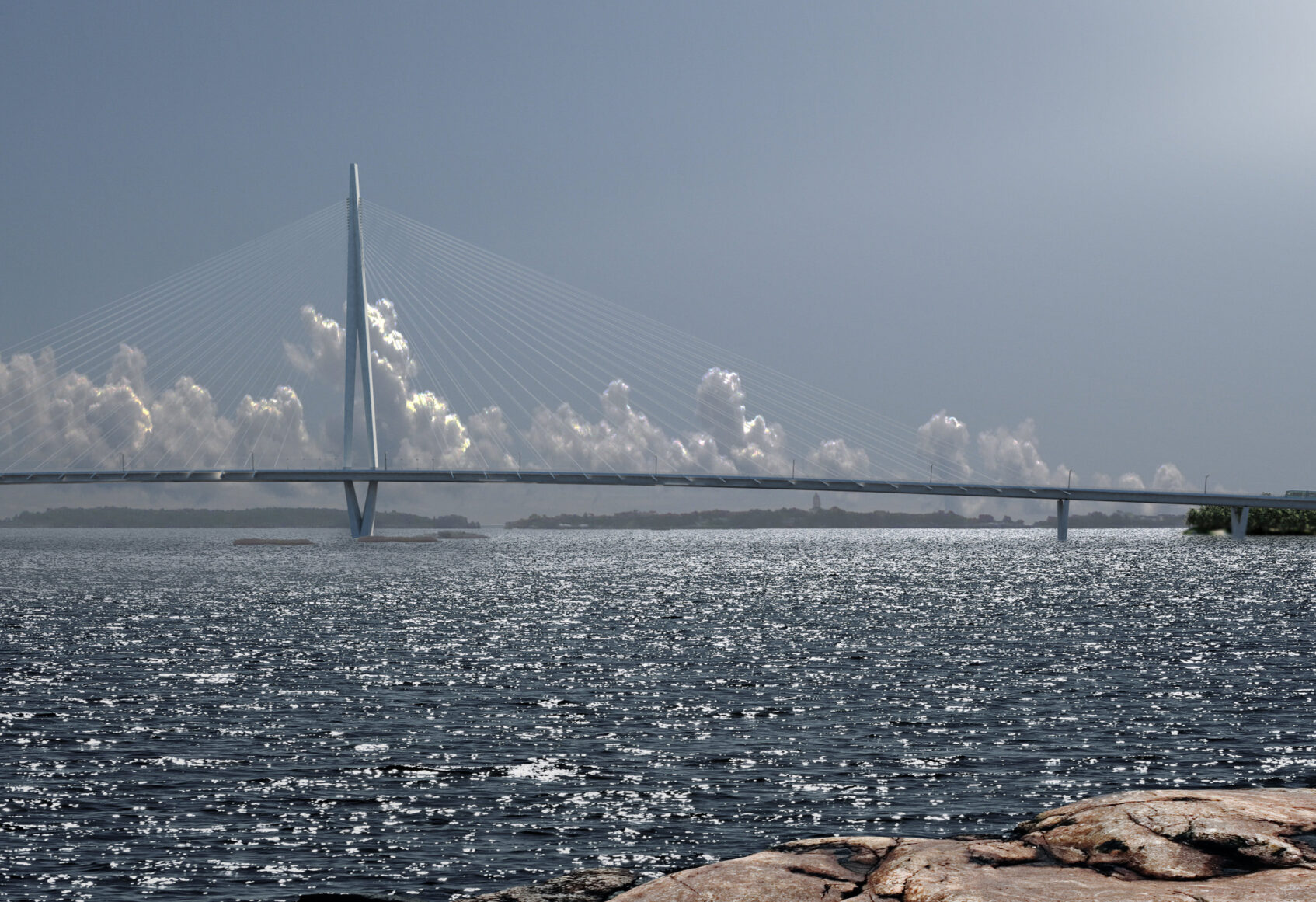 Sunny shore view of Kruunusilat bridge with clouds in the distance behind the bridge