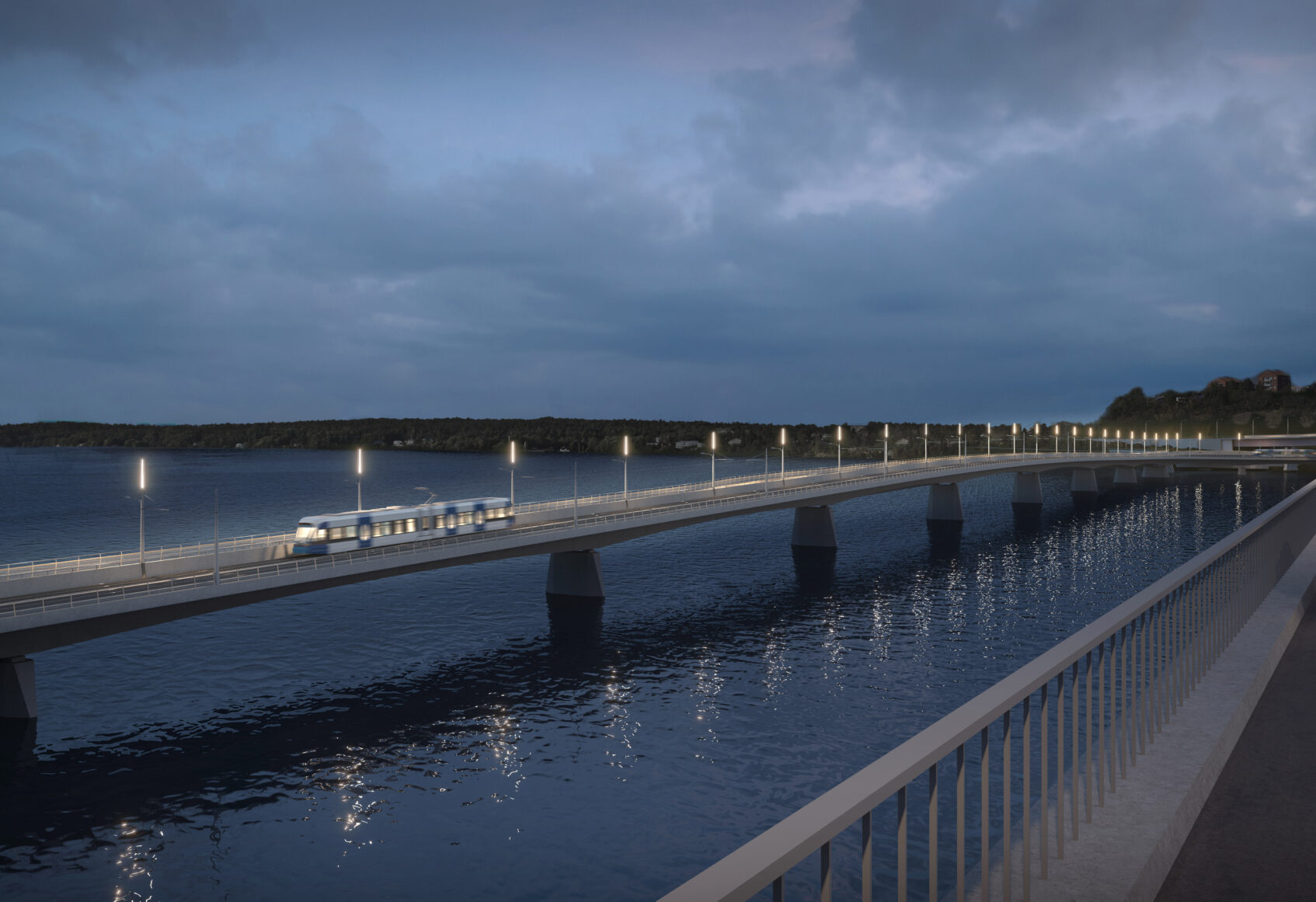Dusk view of trams on the new bridge and cars on the original bridge