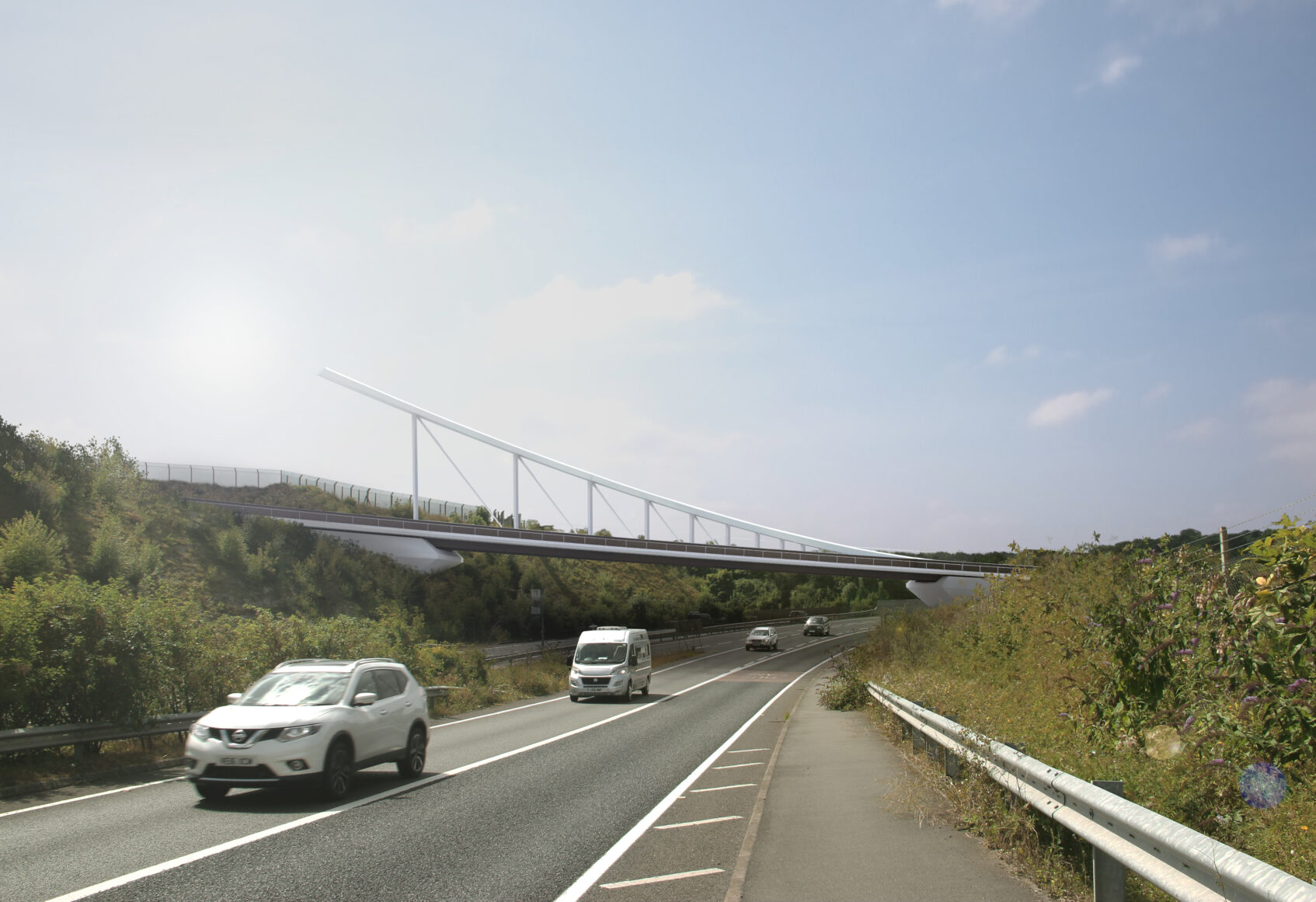 Visualisation of completed Luton footbridge from side of motorway with cars travelling underneath