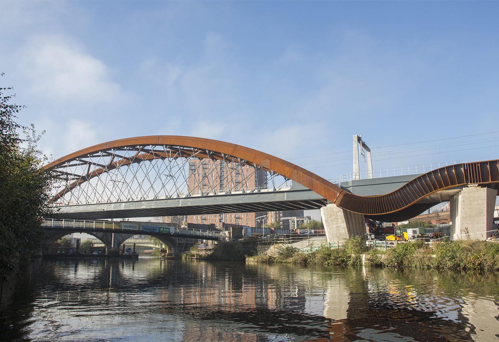 View of rail bridge crossing the River Irwell