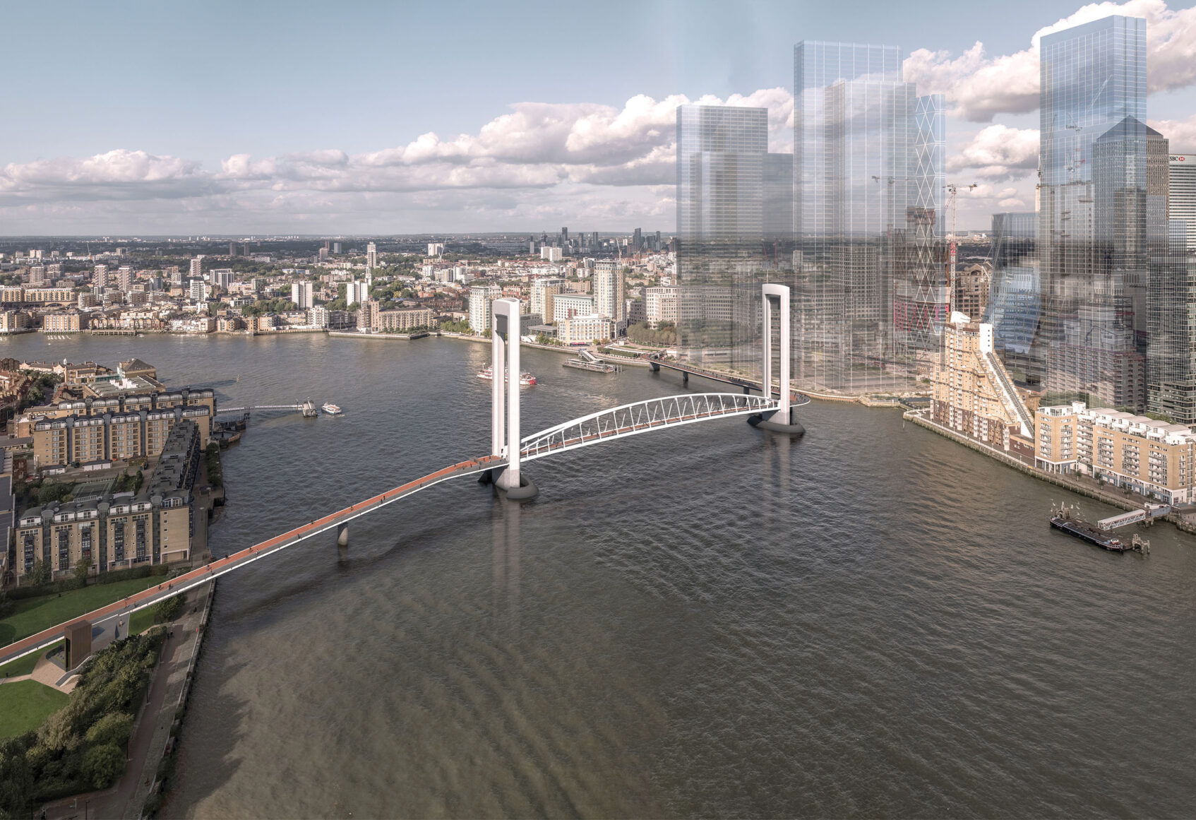 Large lifting Bridge in Canary Wharf over River Thames