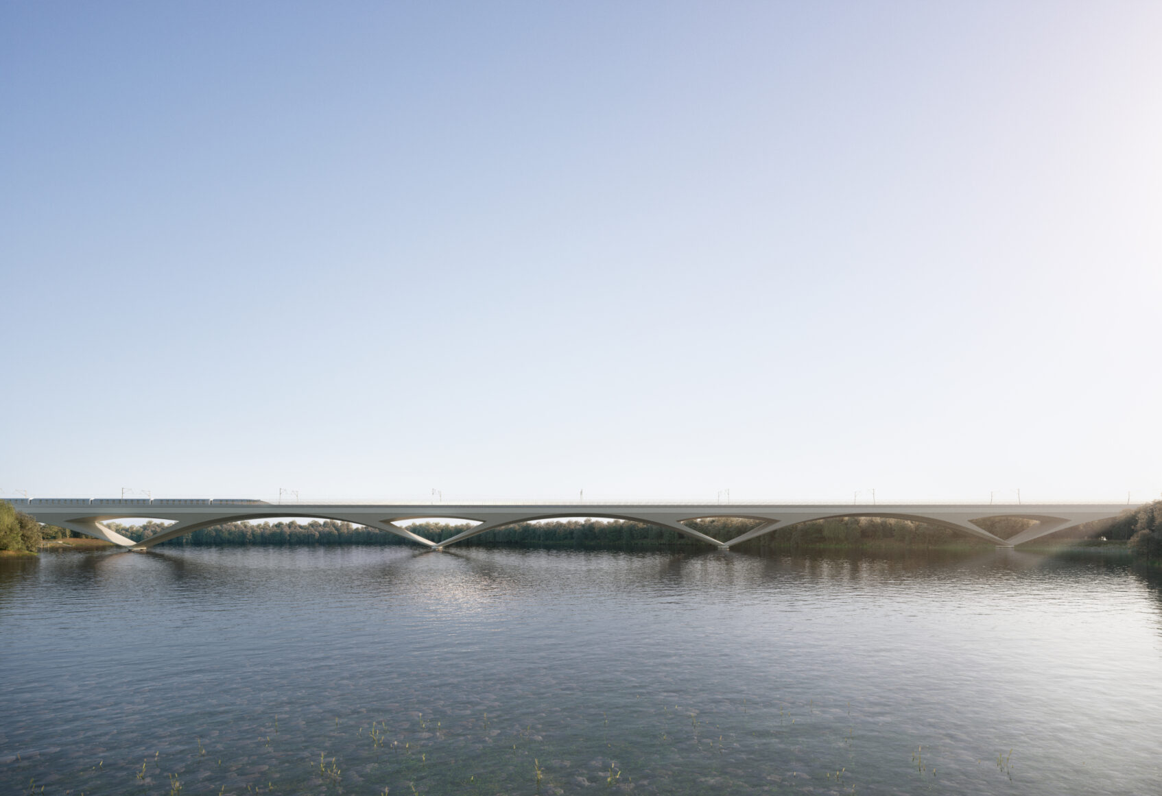 Distant visualisation of the viaduct crossing the water